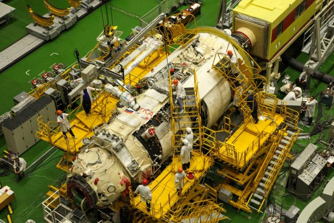 The Nauka module in Baikonur being prepared for launch. Credit: Roscosmos
