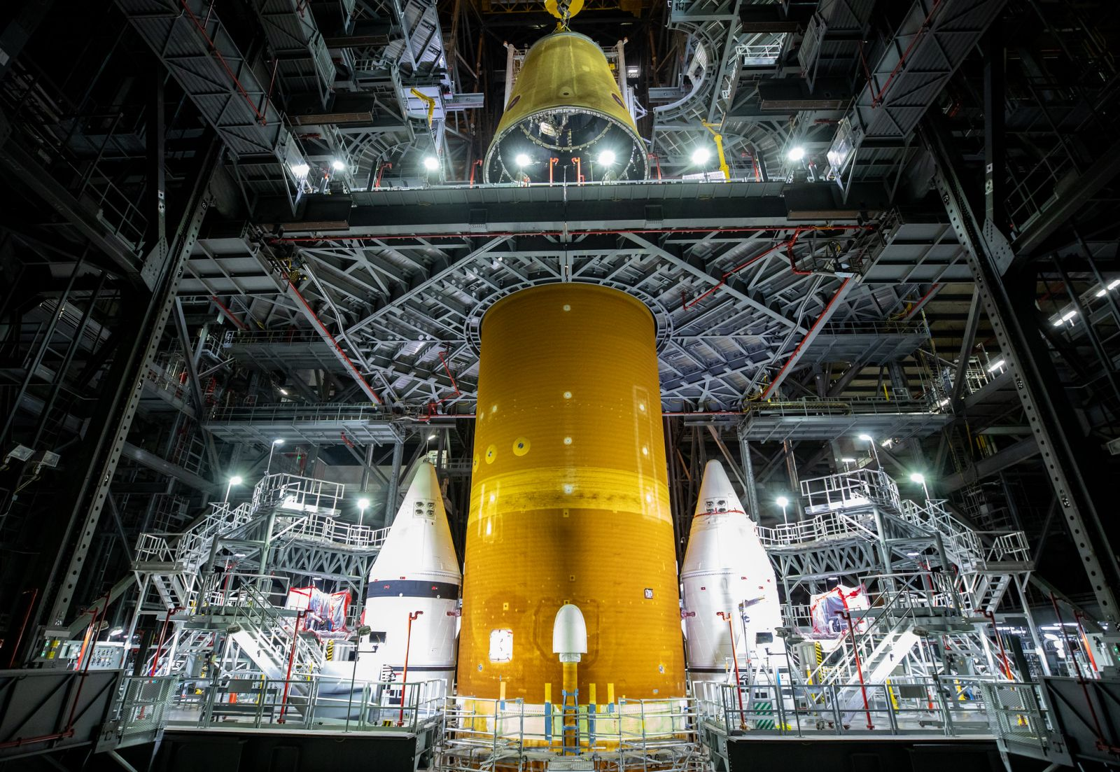 The LVSA was added to the Space Launch System stack on June 22, 2021. Credit: NASA