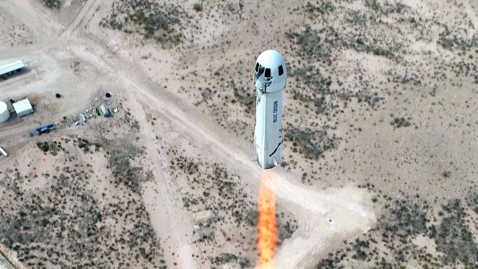 A file photo of the previous New Shepard flight in April 2021. The July 20, 2021, flight saw billionaire founder Jeff Bezos, his brother Mark Bezos, aviation pioneer Wally Funk and Dutch student Oliver Daemon fly to space on the first crewed flight of Blue Origin's suborbital New Shepard rocket. Credit: Blue Origin