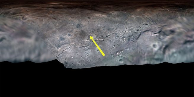 """The yellow arrow denotes the 'flight path"""" of New Horizons' cameras over the surface of Charon. Credit: NASA/Johns Hopkins APL/Southwest Research Institute/Lunar and Planetary Institute/Paul Schenk/Nate Rudolph"""