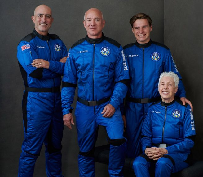 The crew of Blue Origin's First Human Flight. From left to right: Mark Bezos, Jeff Bezos, Oliver Daemon and Wally Funk. Credit: Blue Origin