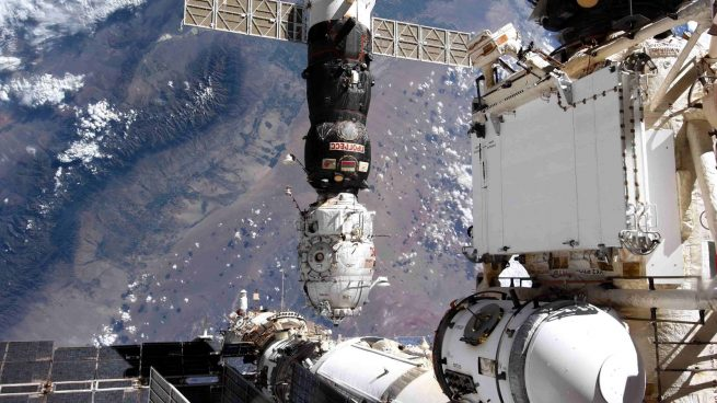 Pirs and Progress MS-16 moments after separating from the International Space Station. Credit: Roscosmos