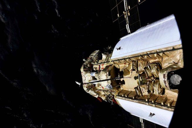 A docked Nauka module as seen through a window in the Zvezda module. Credit: Roscosmos