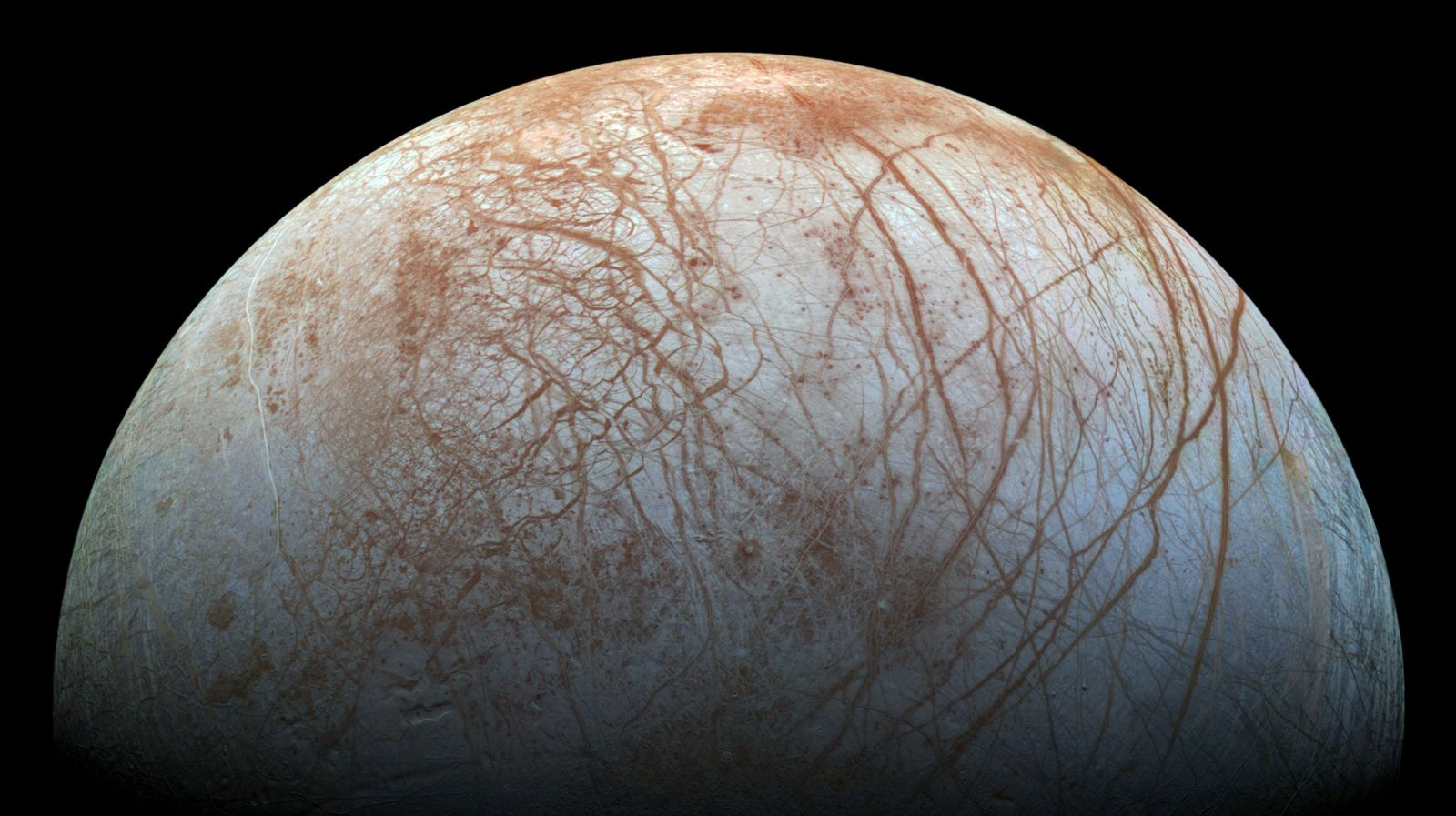 This image of Europa, in which surface fractures are visible, was taken by NASA's Galileo spacecraft during the 1990s. If there is life on Europa, it may be beneath the moon's icy crust in a subsurface ocean. Credit: NASA/JPL-Caltech/SETI Institute