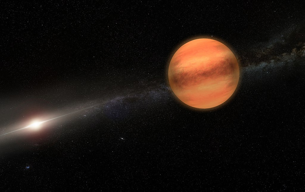 An artist's rendering of exoplanet TYC 8998-760-1 b. Image Credit: Arndt Stelter, CC BY-SA 4.0 via Wikimedia Commons