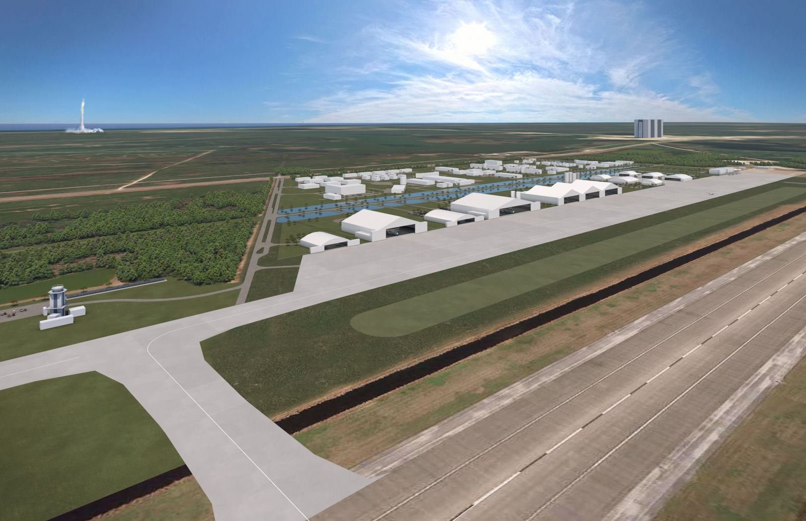 """A 3D render of the proposed """"utility corridor"""" that is being built at the Launch and Landing Facility, which was formerly known as the Shuttle Landing Facility. Credit: Space Florida"""