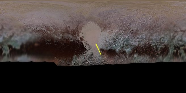 """The yellow arrow denotes the 'flight path"""" of New Horizons' cameras over the surface of Pluto . Credit: NASA/Johns Hopkins APL/Southwest Research Institute/Lunar and Planetary Institute/Paul Schenk/Nate Rudolph"""