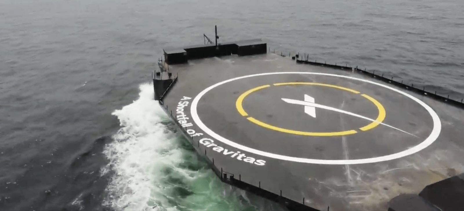 """The drone ship """"A Shortfall of Gravitas"""" begins sea trials before heading to Cape Canaveral to begin catching Falcon 9 first stage boosters. Credit: SpaceX"""
