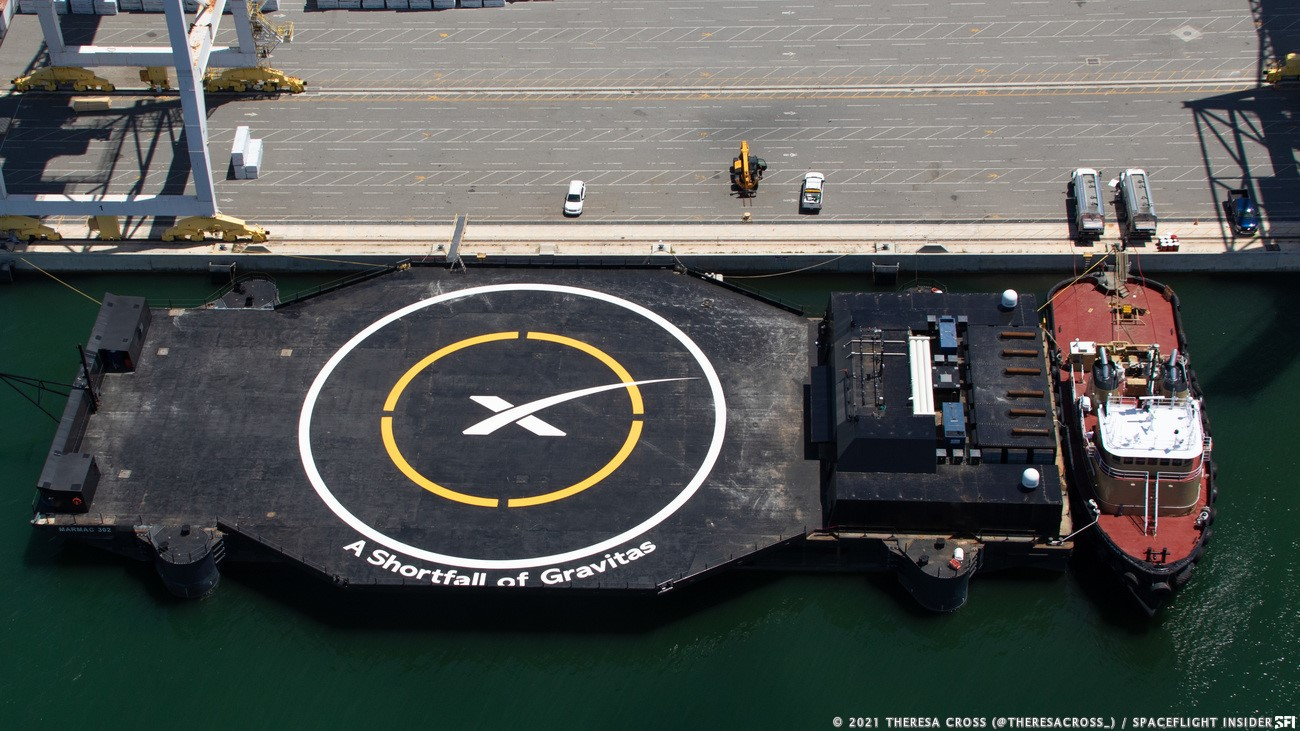 """SpaceX's drone ship """"A Shortfall of Gravitas"""" in Port Canaveral, Florida. Credit: Theresa Cross / Spaceflight Insider"""