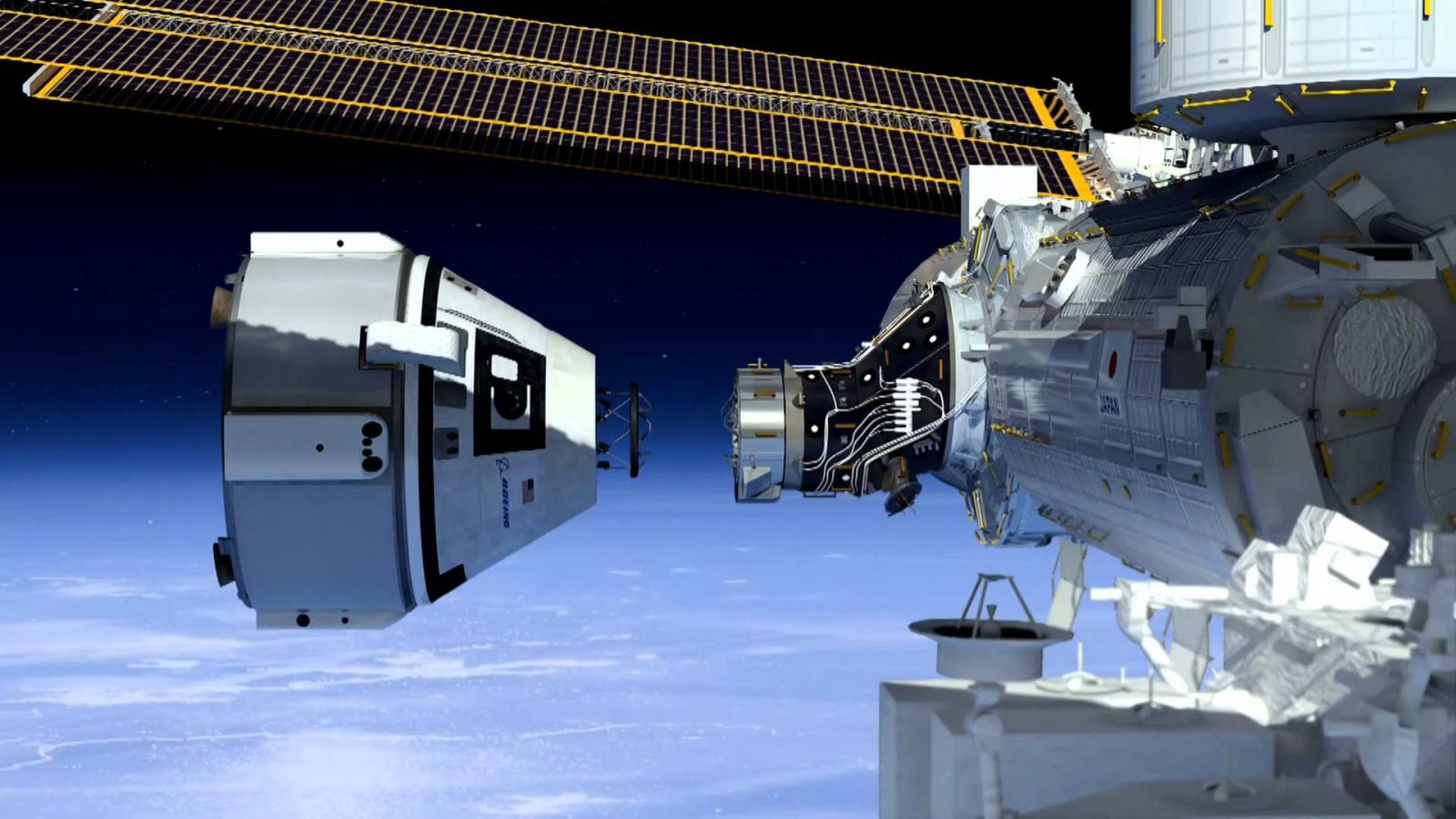 A rendering of the Starliner spacecraft approaching the International Space Station for docking. Credit: NASA