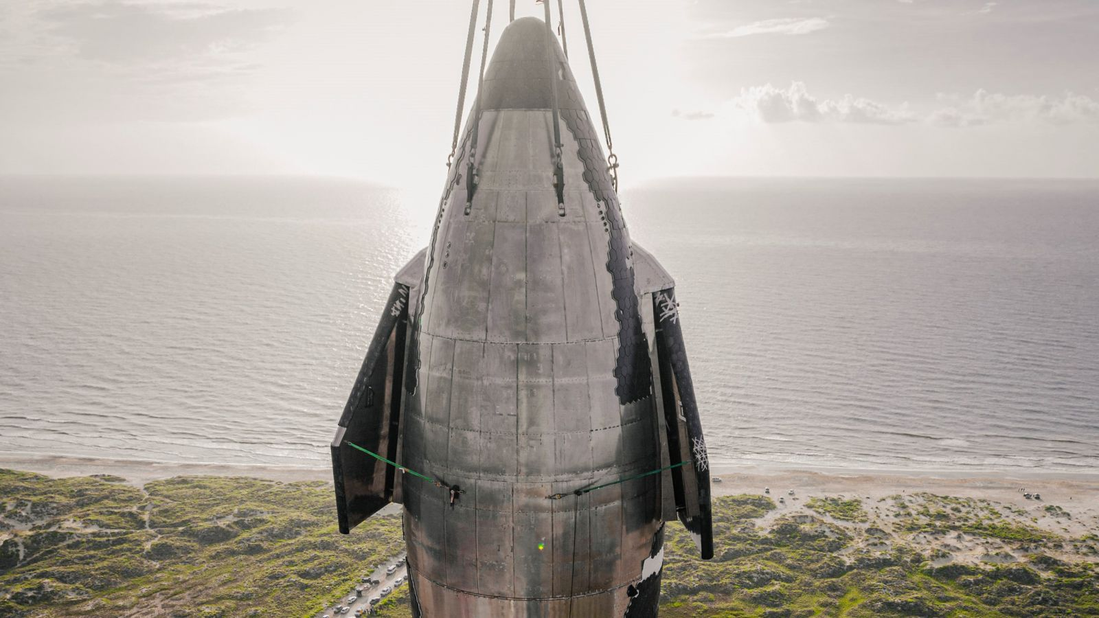 The nose of Starship Ship 20 when it was briefly stacked atop a Super Heavy booster earlier in August. Credit: SpaceX
