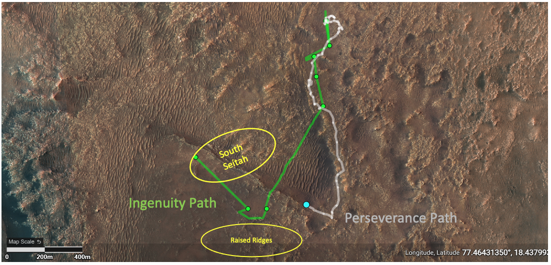 """This annotated image depicts the ground tracks of NASA's Perseverance rover (white) and Ingenuity Mars Helicopter (green) since arriving on Mars on Feb. 18, 2021. The upper yellow ellipse depicts the """"South Séítah"""" region. Credit: NASA/JPL-Caltech."""