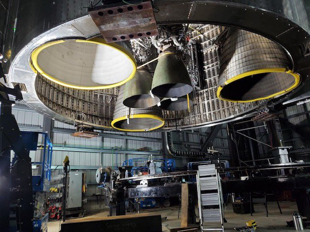 The base of Starship Ship 20 with three sea level Raptor engines and three Raptor Vacuum engines installed. Credit: Elon Musk / SpaceX