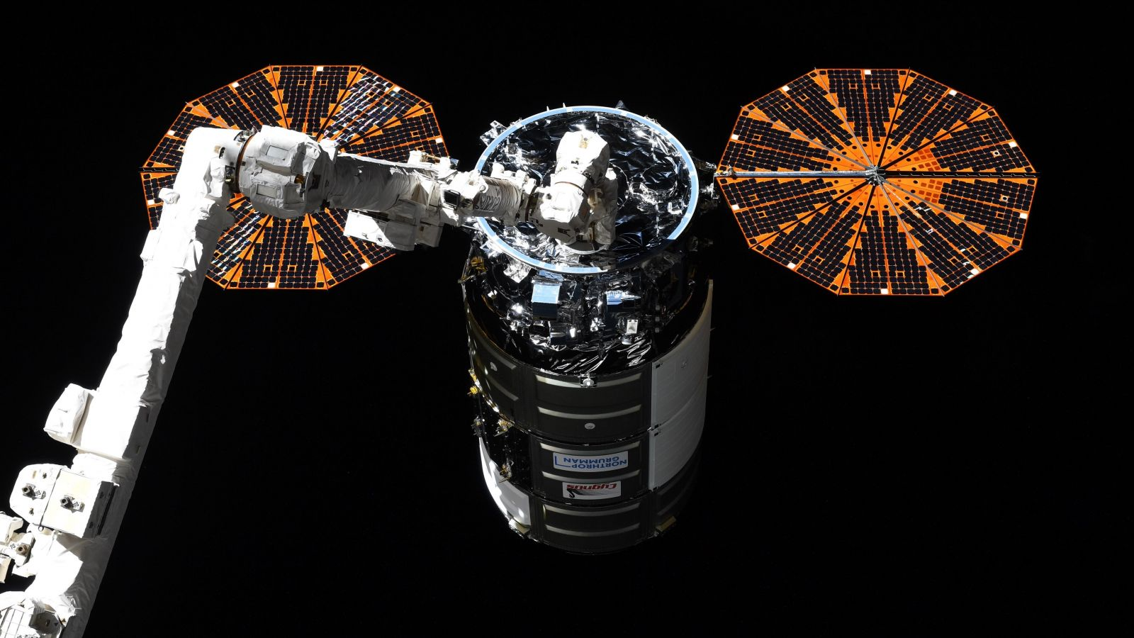The NG-16 Cygnus spacecraft is captured by the robotic Canadarm2. Credit: Thomas Pesquet / European Space Agency