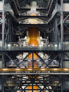 The Space Launch System rocket inside the Vehicle Assembly Building. Credit: NASA