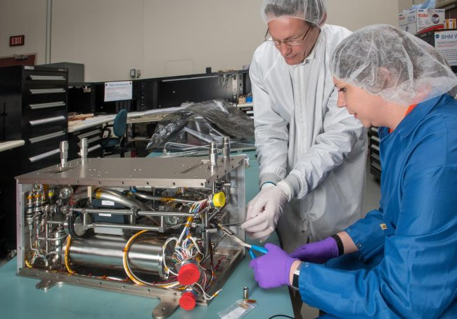 The Flow Boiling and Condensation Experiment undergoing engineering checks before final hardware assembly. Credit: NASA