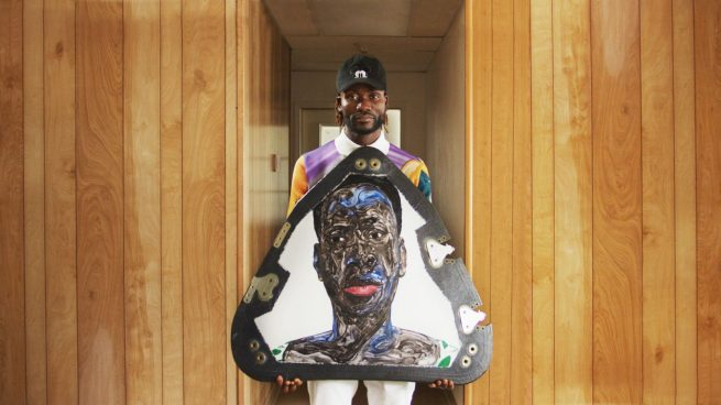 One of the three portraits painted by artist Amoako Boafo flying on top of the New Shepard crew capsule for the NS-17 mission. Credit: Uplift Aerospace