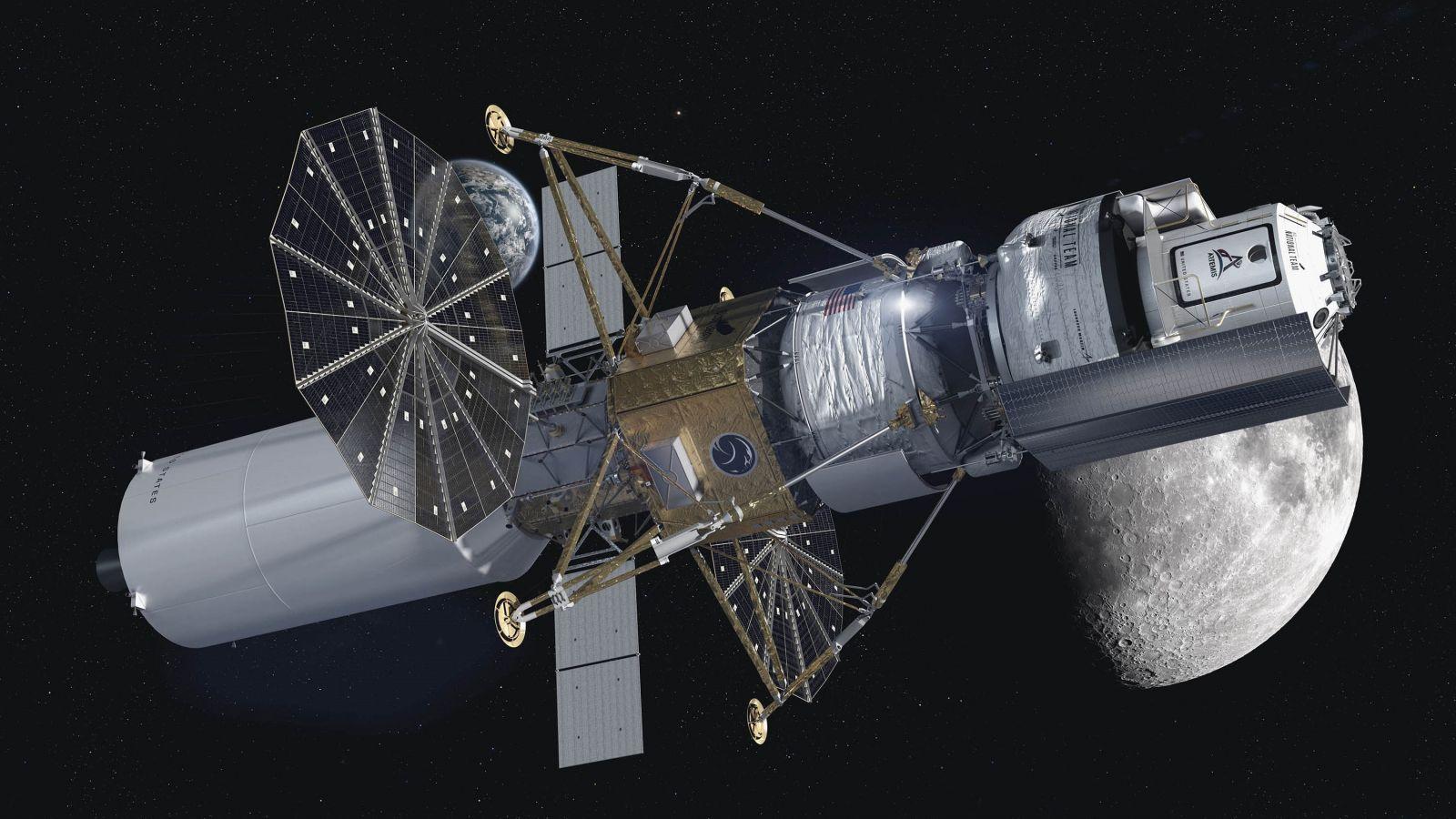 A rendering of the National Team lander design, which is being built by Blue Origin, Northrop Grumman Lockheed Martin and Draper. Credit: Blue Origin