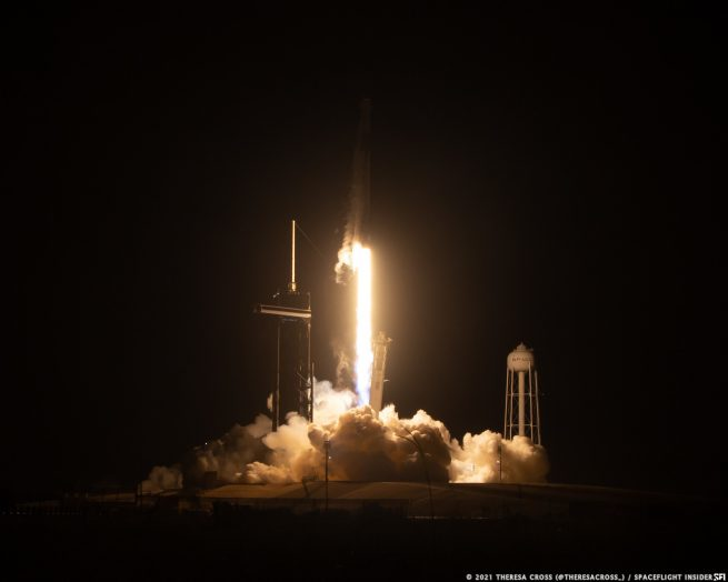 SpaceX's CRS-23 Dragon mission lifts off from Launch Complex 39A at NASA's Kennedy Space Center in Florida. The first stage was caught by A Shortfall of Gravitas less than 8 minutes later. Credit: Theresa Cross / Spaceflight Insider