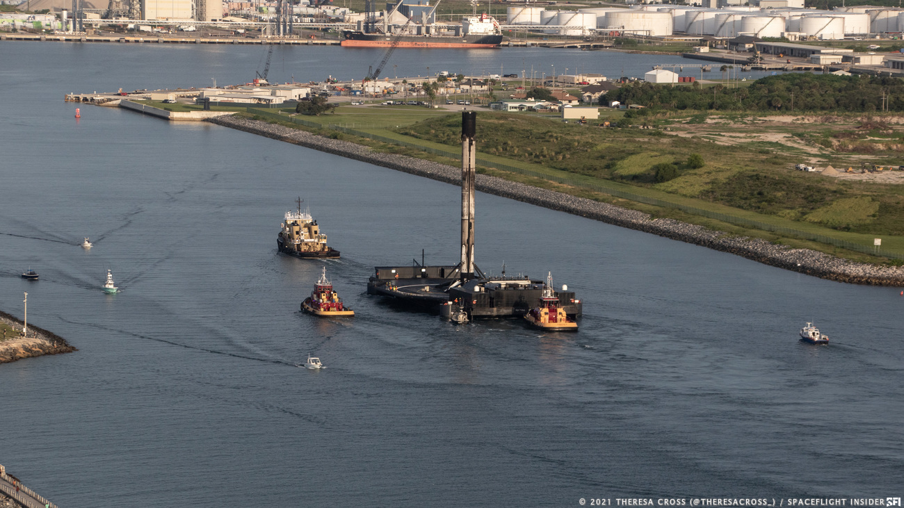 Tugs guide A Shortfall of Gravitas into Port Canaveral. Credit: Theresa Cross / Spaceflight Insider