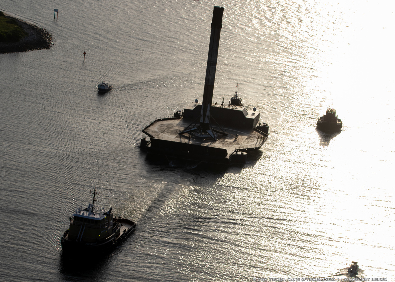A Shortfall of Gravitas enters Port Canaveral with its Falcon 9 catch. Credit: Theresa Cross / Spaceflight Insider