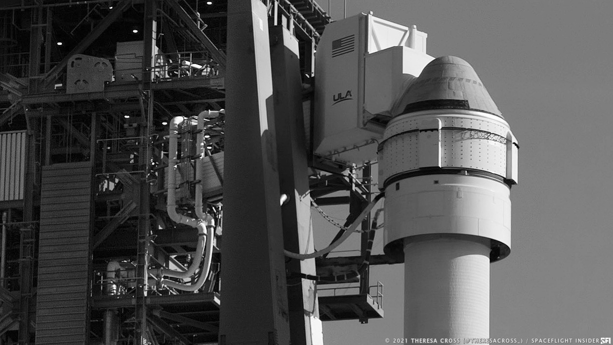 The OFT-2 Starliner spacecraft sits atop an Atlas 5 rocket at Space Launch Complex 41. Credit: Theresa Cross / Spaceflight Insider