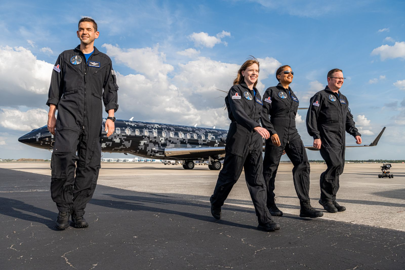 The Inspiration4 crew in Florida in March 2021. From left to right: Jared Isaacman, Hayley Arceneaux, Sian Proctor and Chris Sembroski. Credit: Inspiration4 / John Kraus