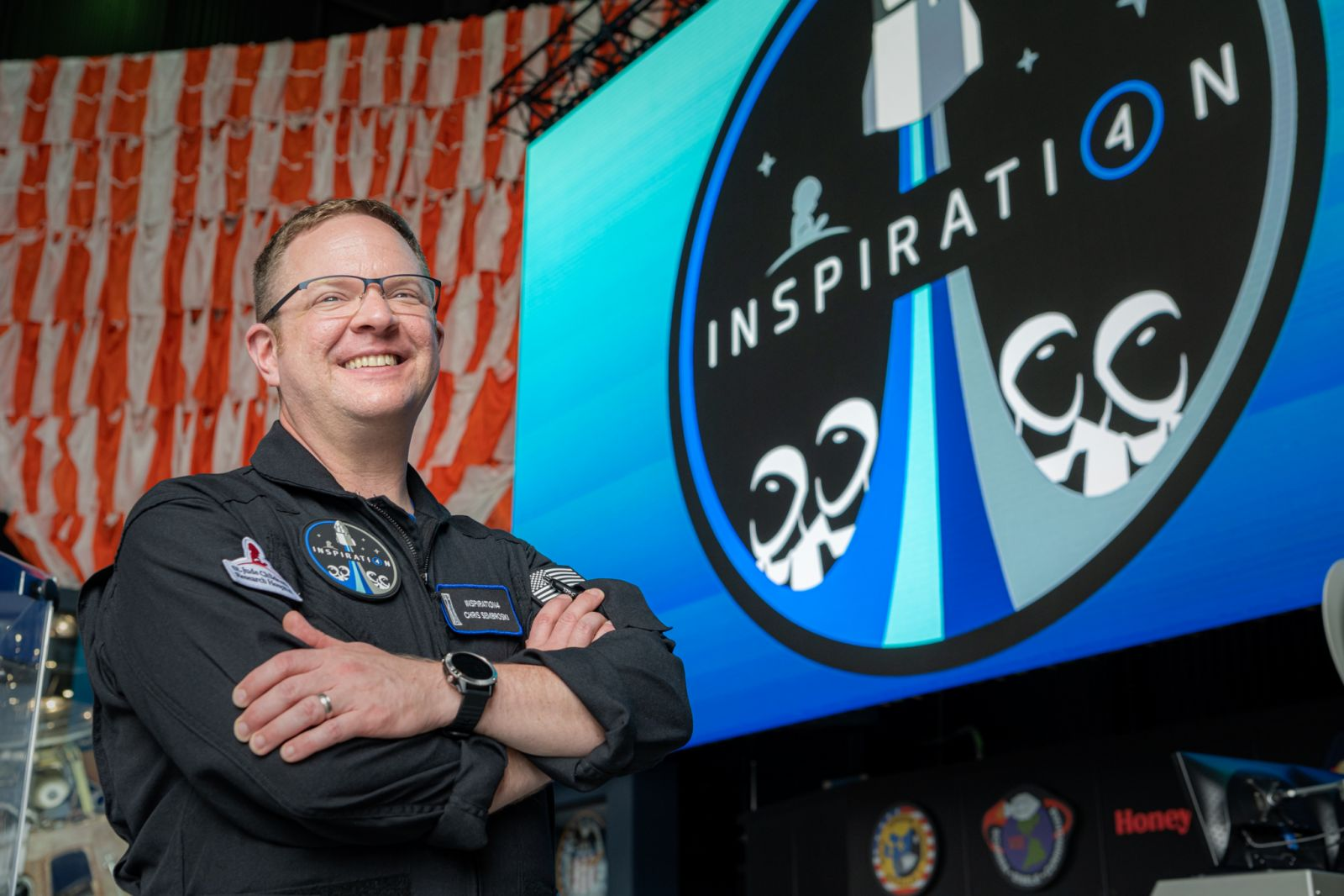 Chris Sembroski while on a visit to Space Camp in Huntsville, Alabama. Credit: Inspiration4 / John Kraus