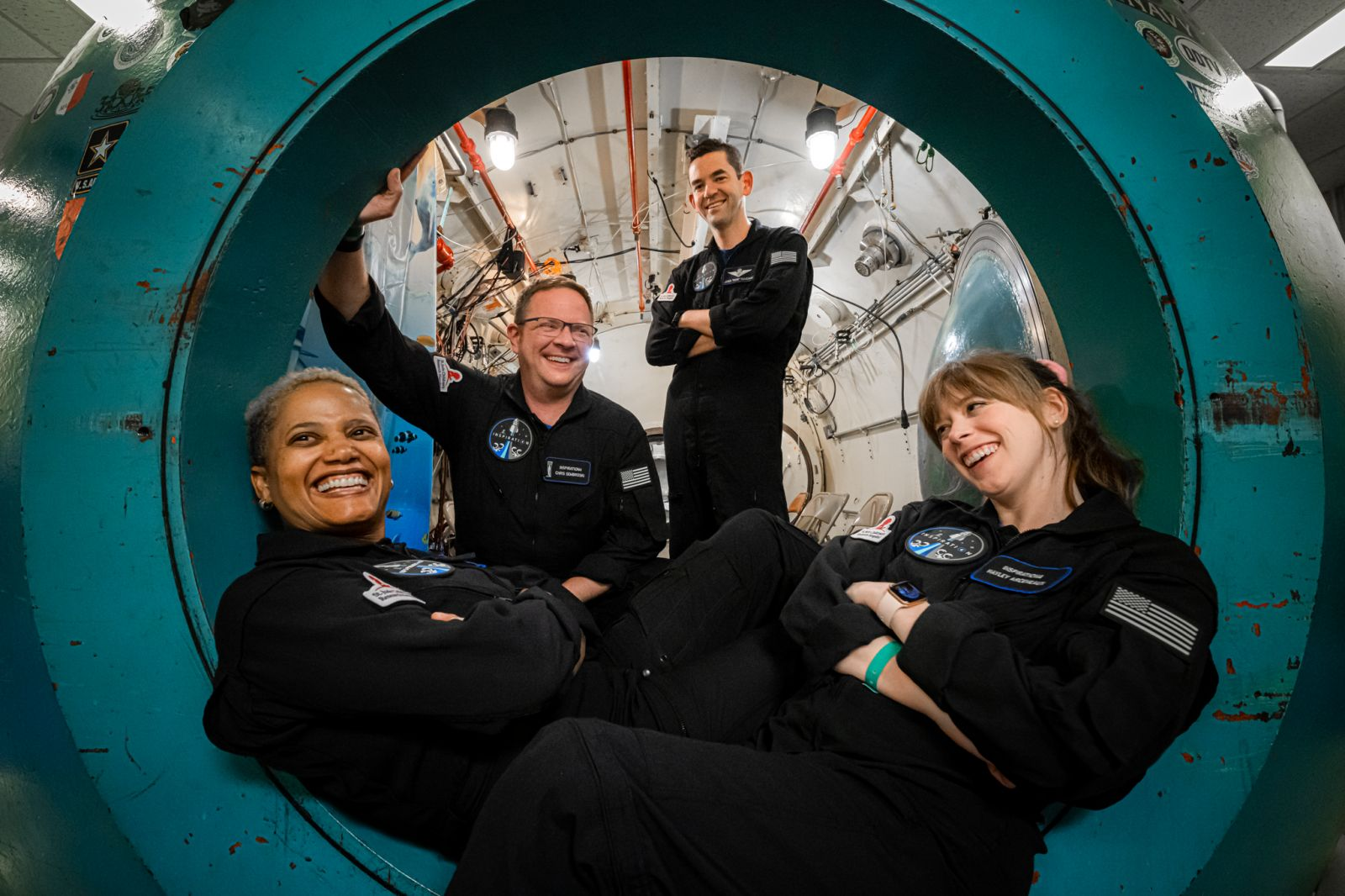 The Inspiration4 crew while training in an altitude chamber. From left to right: Sian Proctor, Chris Sembroski, Jared Isaacman and Hayley Arceneaux. Credit: Inspiration4 / John Kraus