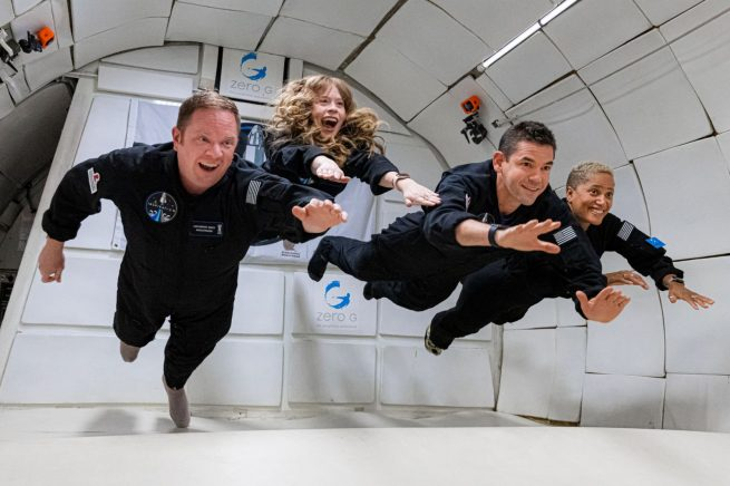 The Inspiration4 crew during a zero-g flight. From left to right: Chris Sembroski, Hayley Arceneaux, Jared Isaacman and Sian Proctor. Credit: Inspiration4 / John Kraus