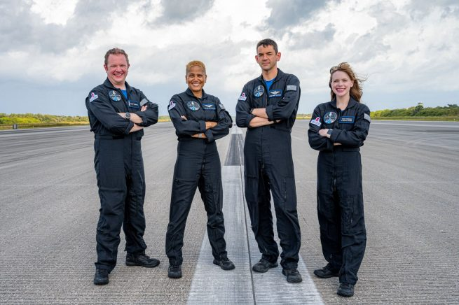 The Inspiration4 crew shortly after arriving at Kennedy Space Center for their launch. From left to right: Chris Sembroski, Sian Proctor, Jared Isaacman and Hayley Arceneaux. Credit: Inspiration4 / John Kraus