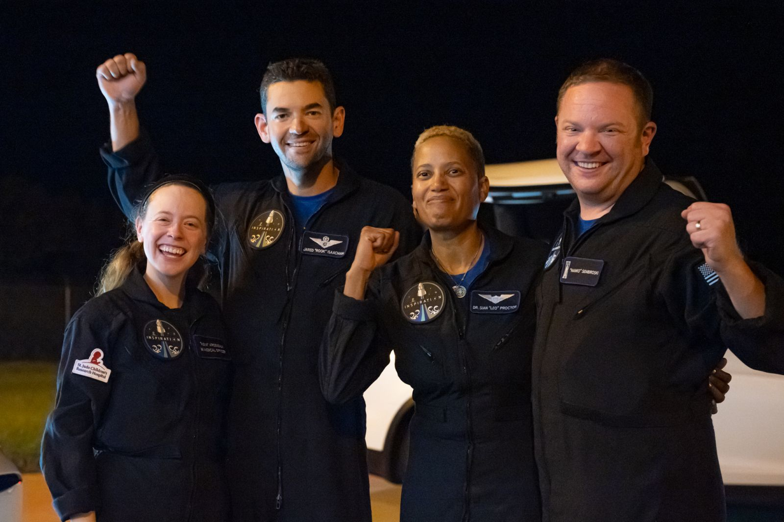 The four Inspiration4 crew members pose for a photo upon their arrival at Kennedy Space Center following their 3-day flight. Credit: Inspiration4 / John Kraus