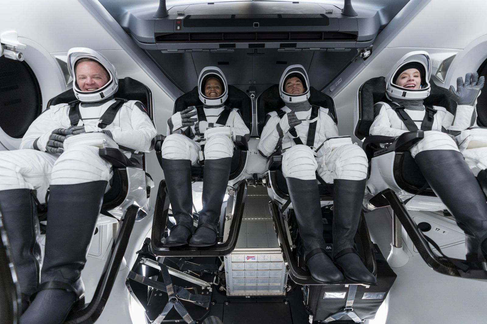 The Inspiration4 crew in their Dragon spacecraft during a launch rehearsal on Sept. 12, 2021. From left to right: Chris Sembroski, Sian Proctor, Jared Isaacman and Hayley Arceneaux. Credit: Inspiration4 / John Kraus