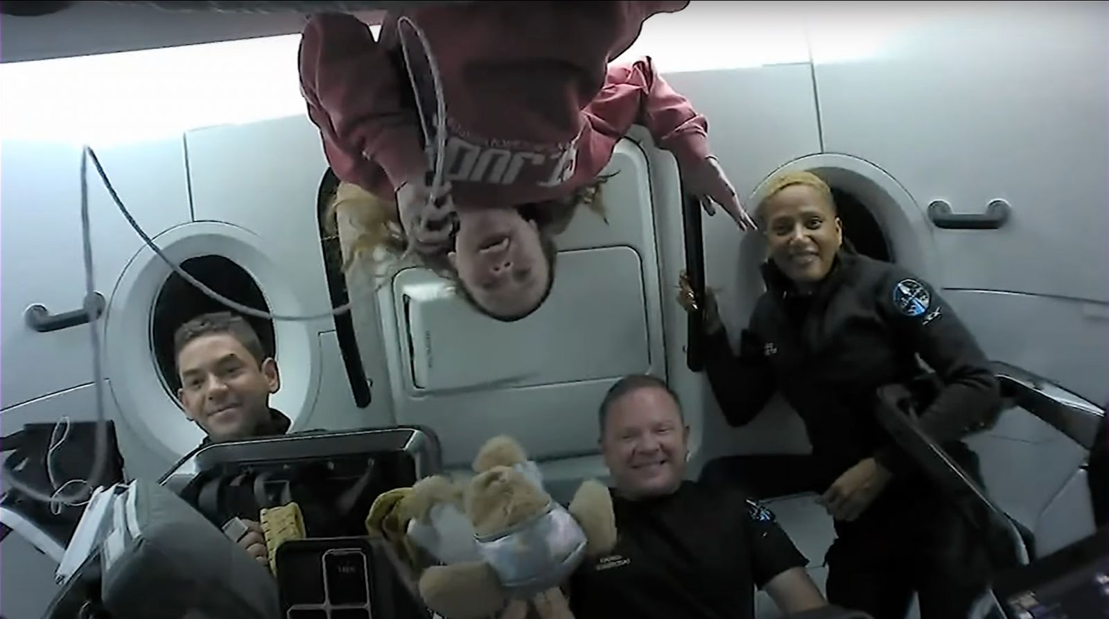 The Inspiration4 crew during an in-flight mission update broadcast. Credit: SpaceX