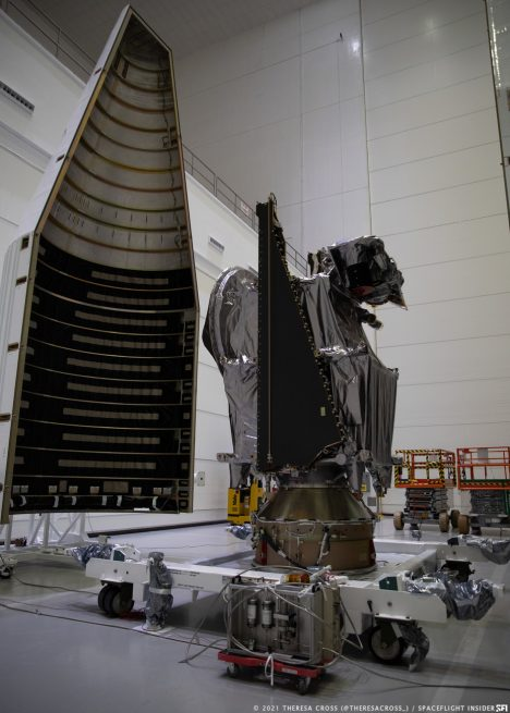 Lucy on its payload mount in the Astrotech payload processing facility. Credit: Theresa Cross / Spaceflight Insider