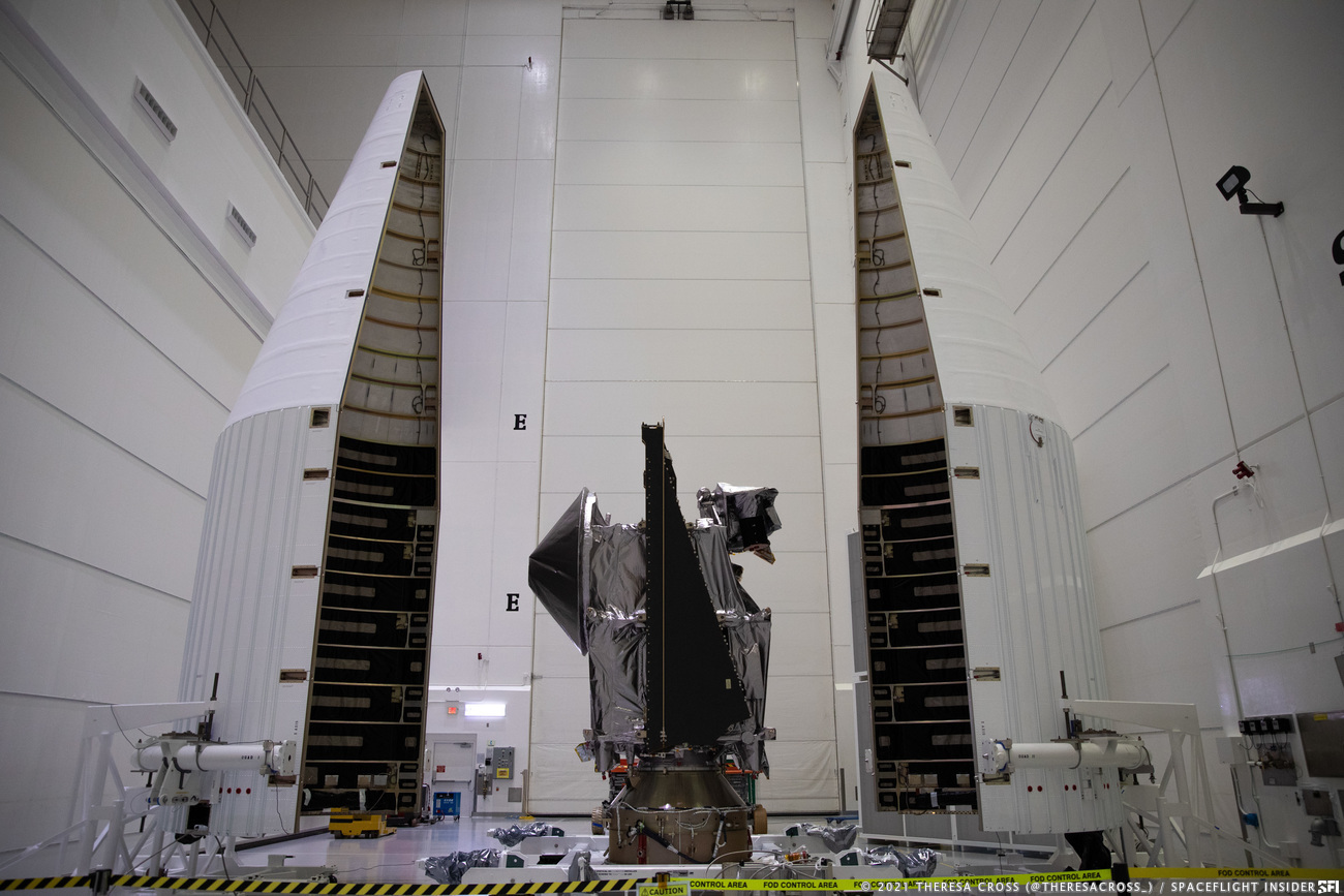 Lucy sits between the two Atlas V payload fairing halves in the Astrotech payload processing facility in Titusville, Florida, just a short drive from Kennedy Space Center. Credit: Theresa Cross / Spaceflight Insider