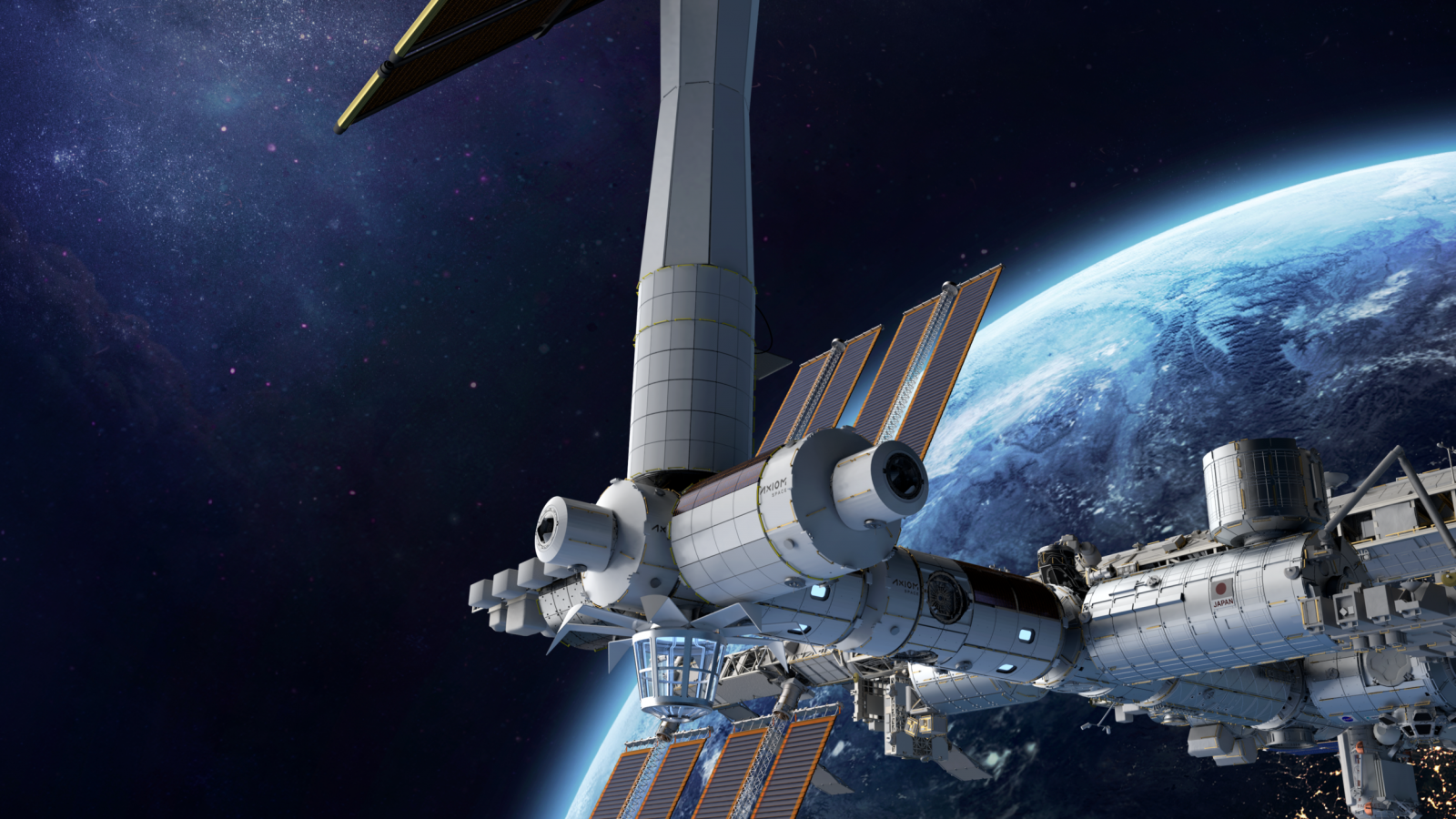 A rendering of Axiom Space's proposed commercial modules attached to the ISS. Credit: Axiom Space