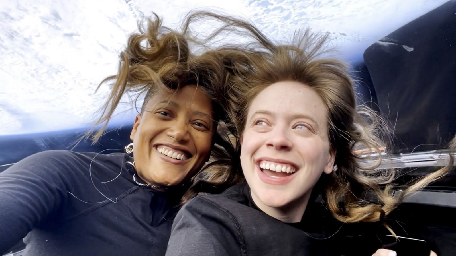 Sian Proctor, left, and Hayley Arceneaux in Dragon's cupola. Credit: Inspiration4