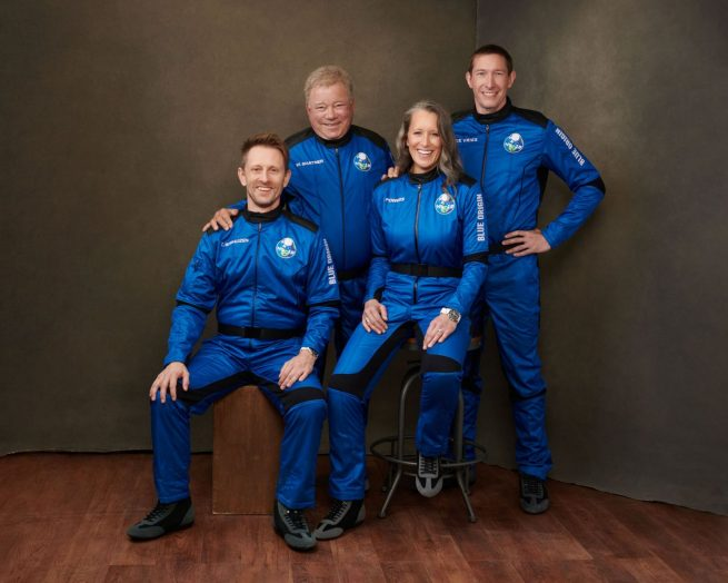 The NS-18 crew photo. From left to right: Chris Boshuizen, William Shatner, Audrey Powers and Glen de Vries. Credit: Blue Origin