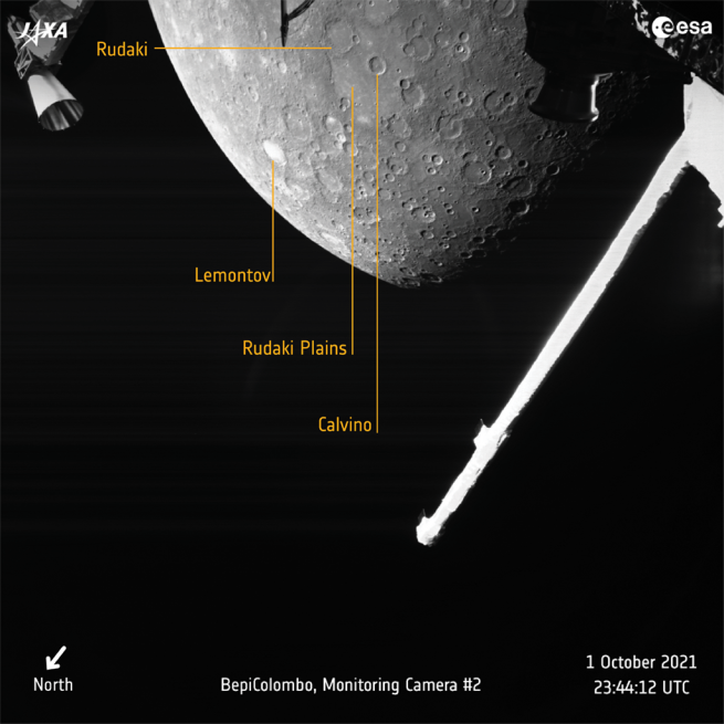 An annotated view of Mercury taken by the BepiColombo mission's cameras. Credit: ESA / JAXA