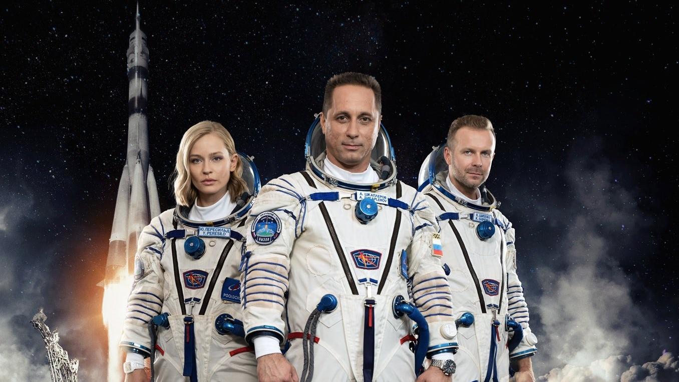 The crew of Soyuz MS-19. From left to right: Actress Yulia Peresild, cosmonaut Anton Shkaplerov and film director Klim Shipenko. Credit: Roscosmos