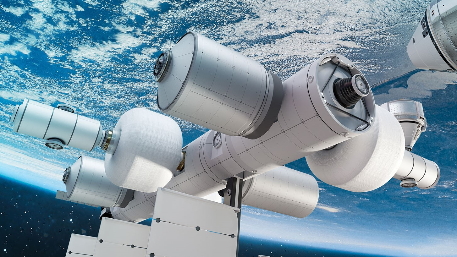 A rendering of an operational Orbital Reef commercial space station. Credit: Blue Origin